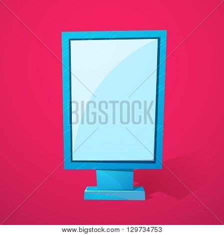 Street advertising billboard, realistic urban blank stand with space for text, vector template illustration