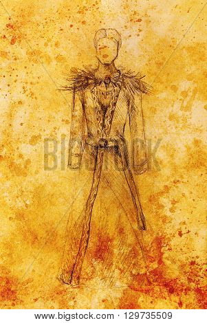 Man drawing in ornamental dress, pencil sketch on paper, sepia and vintage effect