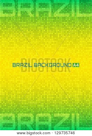 Abstract digital background using Brazil flag colors, a4 format. Abstract pixels vector template A4 size design, brochure, Web, page, leaflet, with Brazil colored geometric shapes. Brazil Banner 2016