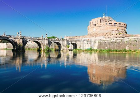 castle saint Angelo and bridge over Tiber, Rome, Italy