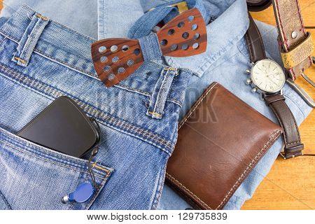 Modern Man Accessories With Denim Clothes