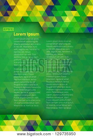 Abstract digital background using Brazil flag colors, a4 format.Abstract pixels vector template A4 size design, brochure, Web, page, leaflet, with Brazil colored geometric shapes. Brazil Banner 2016