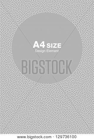 White abstract halftone dots circle frame on light gray background. Abstract circle gray dots background. Circle frame dots Backdrop. Dots pattern. Vector Background A4 size, a4 format backdrop frame
