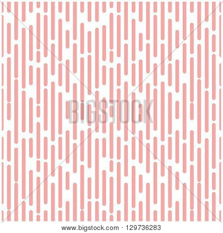 Intermittent halftone pink segment line background vertical repeating broken geometric random minimal seamless pattern