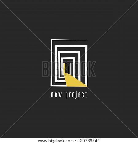 Development of a new project logo design abstract room with a door emblem template for business card developer creative idea of engineering startup