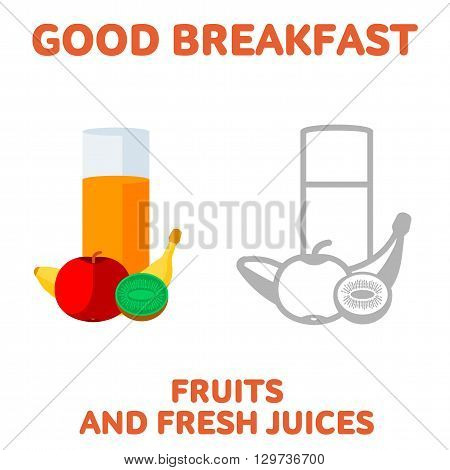 Vector flat and line icon fruits and fresh juices. Fresh and healthy breakfast diet food. Web design web icon food menu. Isolated on a white background