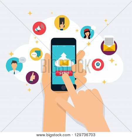 Running campaign email advertising direct digital marketing. Email marketing. Set of social media icons. Flat design style modern vector illustration concept.
