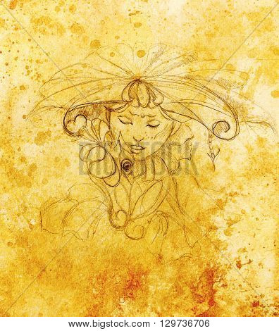 mystic woman with flower. pencil drawing on paper, Color effect