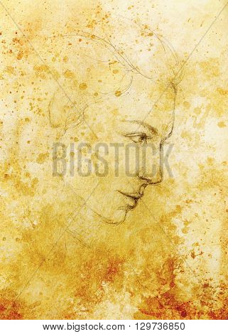 art drawing beautiful girl face and sepia background
