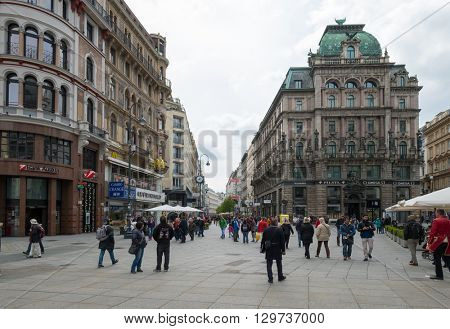 VIENNA - APRIL,24: Tourists visit old city centre on April 24, 2016 in Vienna