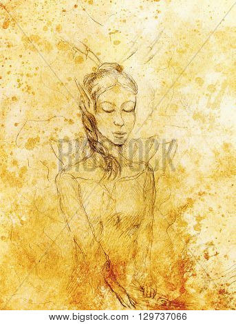 Drawing of elf woman, pencil sketch on paper, sepia and vintage effect