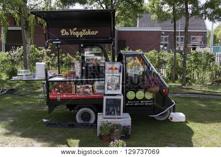 Amsterdam Netherlands-May 14 2016: paggio ape veggie food truck in Amsterdam