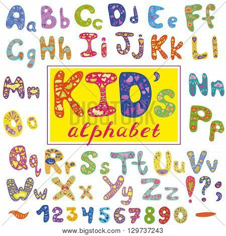 Alphabet in kid style. Vector abstract alphabet with letters. Hand drawn font and alphabet.