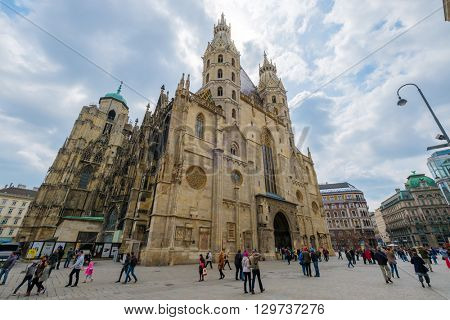 VIENNA - APRIL,24: Tourists visit St Stephens Square on April 24, 2016 in Vienna
