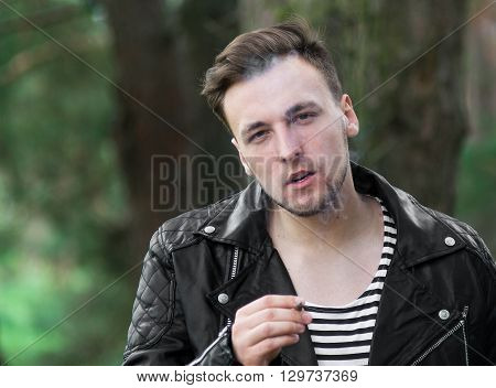 Smoking Guy With A Cigarette