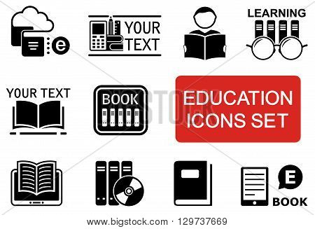 set of education icon with red accent