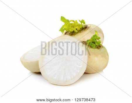 Mini White Turnips On White Background