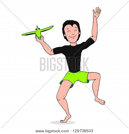Boy Playing With Toy Aircraft or Plane colorized