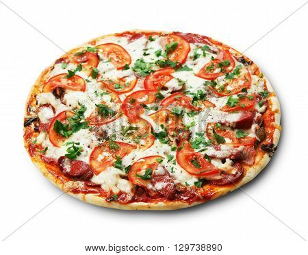 Delicious pizza with mushrooms and smoked sausages - thin pastry crust at round wooden desk, isolated at white background. Italian food, Top view.