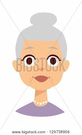 Very attractive senior lady smiling isolated on white. Granny face vector and granny face cute cartoon lady. Granny face old senior female person and elderly beautiful age granny face.