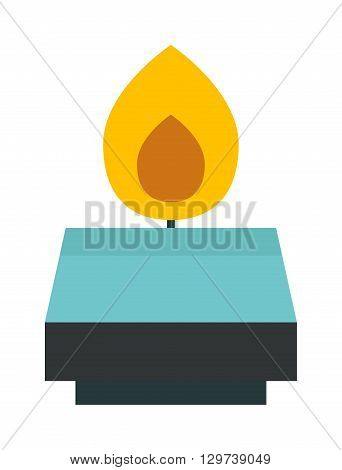 Burning wax candle in a stand flat vector illustration. Cartoon candle on a saucer. Traditional holidays candles. Candle isolated