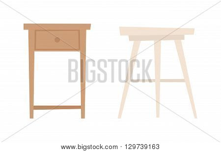 Collection types seating chair vector. Home chair, cafe wooden chair and retro armchair. Simple cartoon isolated chair vector illustration. Chair vector seat interior modern wooden design.