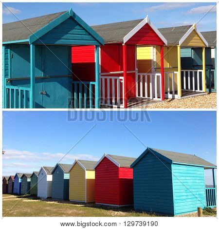 Collage of colorful beach huts on a sunny day.
