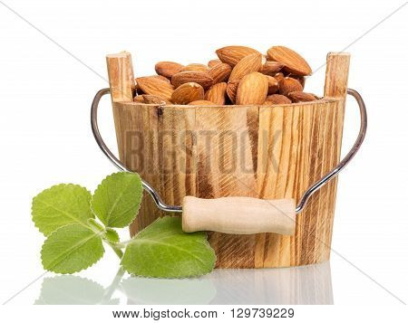 Walnuts in a wooden bucket isolated on white background