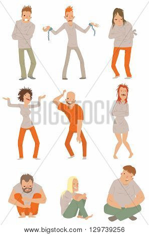 Crazy people poses and people crazy concepts. Mad crazy people vector characters and mad crazy people adult expression face. Emotion mad crazy people angry boy. People crazy characters vector.