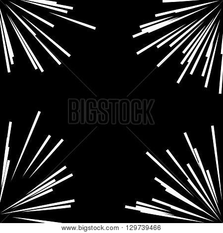 Abstract vector rays on black background. Explosive illustration with dynamic shapes. Monochrome wallpaper with sparkle. Holiday firework with text template. Dynamite burst. Dynamic blast elements.