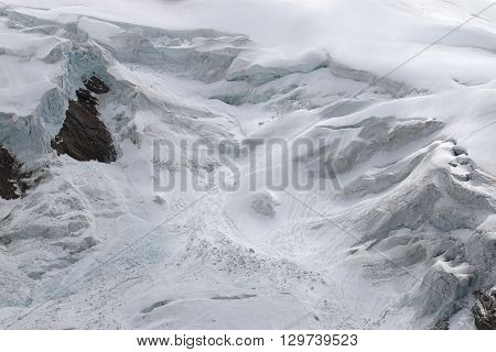 Glacier at Weissmies Mountain in Pennine Alps. Switzerland