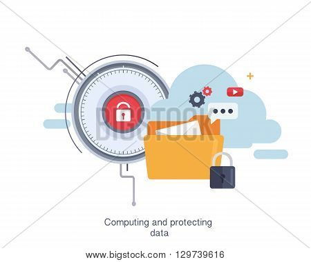 Concept of cloud computing and protecting data, network technology. Multimedia content and web sites hosting.Security and protection. Cloud service. Vector Illustration. Flat design.