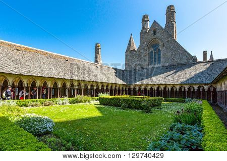 Mont St. Michel France - May 22 2012: Normandy the church seen from the cloister of the abbey