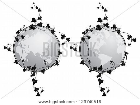 set of vector illustrations of the globe and ivy in grayscale
