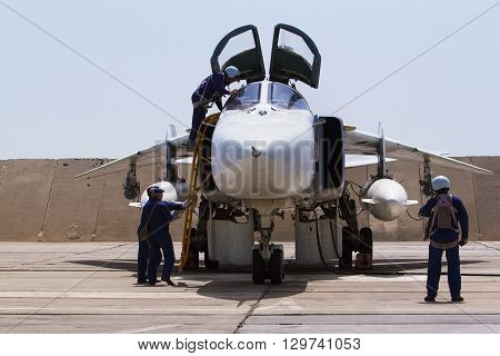 Military Fighter Jet. Service Before Flight