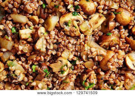Fried Mushrooms In A Frying Pan