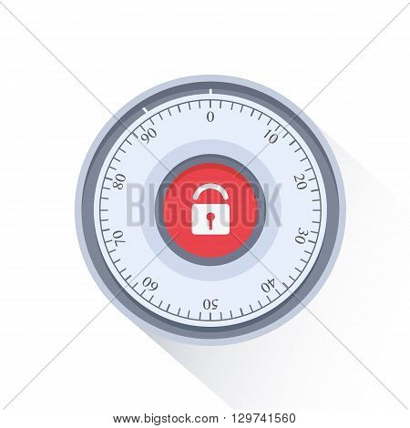 Combination Safe Lock.Combination Lock. Flat Vector Illustration.