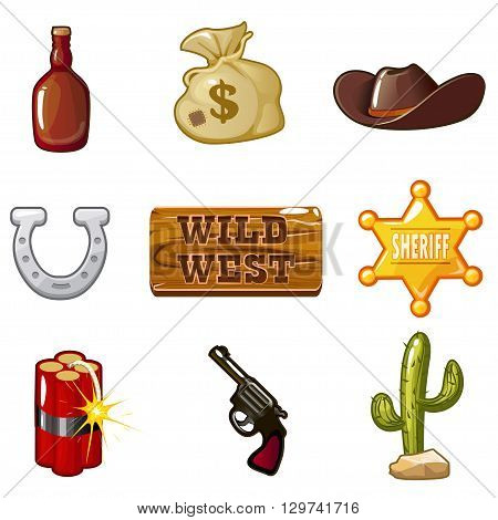 Icons for Wild West computer game. Cowboy objects vector