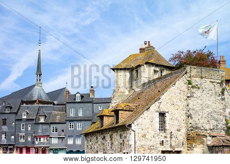 Honfleur France - May 19 2012: Normandy the houses of the old harbor basin