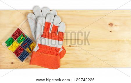 Dowels Set Wrench On Wooden Background