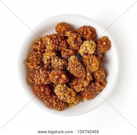 Bowl Of Dried Mulberry Isolated On White, From Above