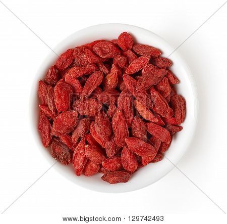 Bowl Of Goji Berries Isolated On White, From Above