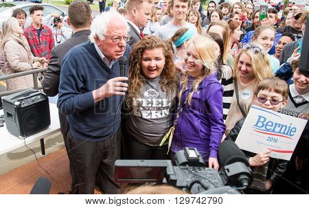 Elizabethtown Kentucky - May 14 2016: Senator Bernie Sanders addresses a crowd at a rally at Panera Bread in Elizabethtown Kentucky.