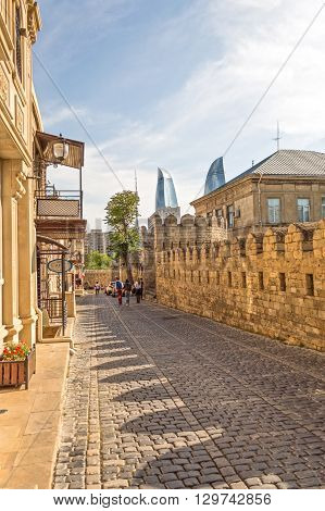 Ancient fortress in the city of Baku. (Icheri Sheher) construction date, approximately in the 9th century. The pavement along the outer wall.