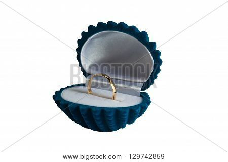 Golden wedding ring in the box isolated on white background