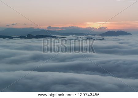 a view of foggy landscape in san marino italy