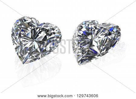 Gems stone heart shape ( High quality 3d render)