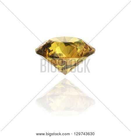 Yellow sapphire round shape -3D Illustrations.(high resolution 3D image)