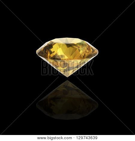 Yellow sapphire on black-3D Illustrations.(high resolution 3D image)