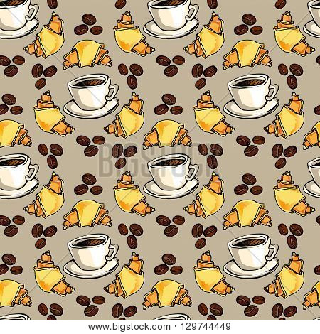 Seamless pattern background. Cup of hot espresso, yellow orange croissant, coffee beans. For cafeteria bakehouse, restaurant interior design, fabric packaging, wrapping paper, menu, coffee shop.